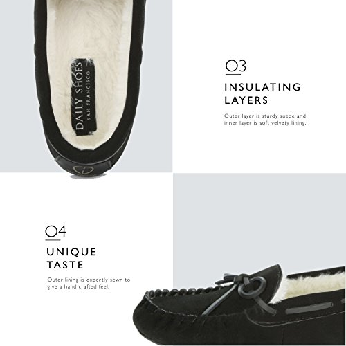 Interior Outdoor Loafer Womens Fur Casual Black Sandal Flat Vegan DailyShoes Round Comfortable Classic Indoor Moccasins Lined Shoes Ywf6qH