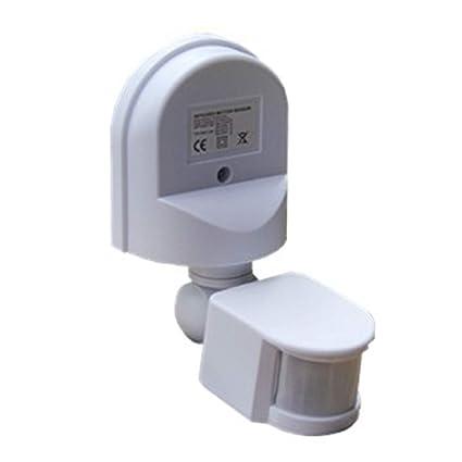 Detector Ajustable Configuración Interruptor Plástico Sensor Movimiento 180°Detección Portátil Exteriores Infrarrojo - Blanco