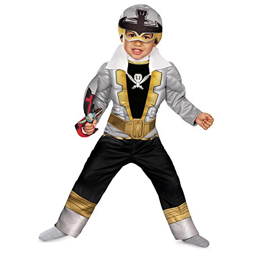 [Disguise Saban Super MegaForce Power Rangers Special Ranger Silver Toddler Muscle Costume,] (Power Ranger Samurai Costumes)