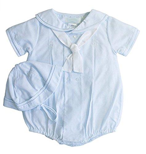 Petit Ami Infant Boys Blue Sailor Bubble Suit Outfit & Hat Set (3M) ()