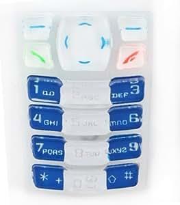 Teclado para Nokia 3100 CRYSTAL, color blanco y azul