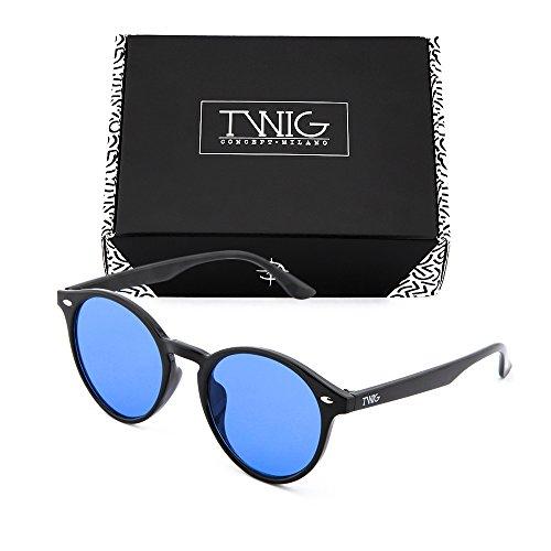 KANT Gafas redondo sol hombre Azul Negro TWIG espejo mujer de qxAArtHZf