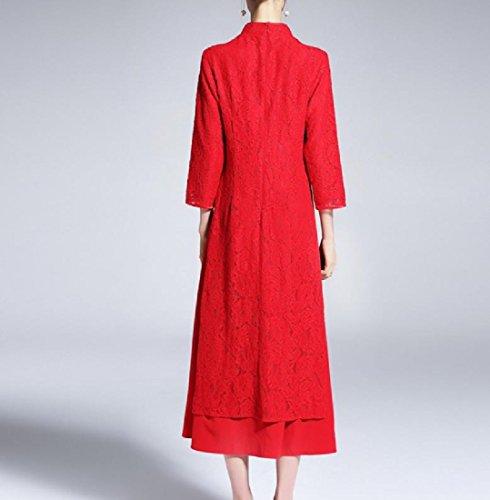 Vestito Ricamo Assetto Comodi Womens Rosso Falso Dal Tagliati Cheongsam Due Pizzo txxrY0