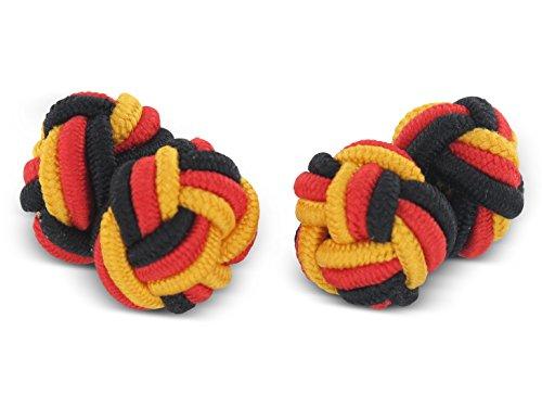 Teroon boutons de manchette soie Nœud Noir Rouge Jaune