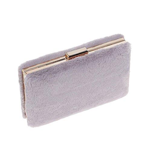 Bandolera Embrague Moda Mano De Piel Noche Bolso Gray color Mujer Para Cartera Azul xzq156n