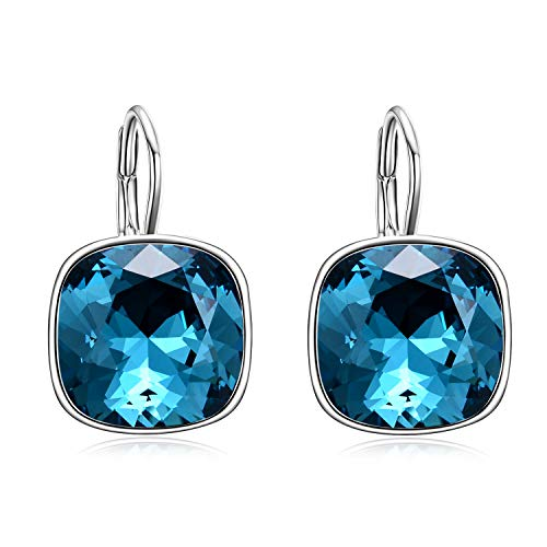 AOBOCO 925 Sterling Silver Blue Cushion Cut Leverback Earrings with Swarovski Crystals,Hypoallergenic Square Earrings Fine Jewelry Birthday Gifts for Women Girls