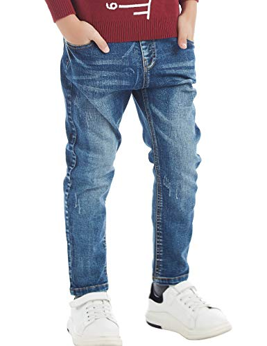 BYCR Boys' Blue Denim Jean Elastic Waist Pants for Kids Size 4-18 No. 71500092 (120 (US Size 4-5), Dark-Blue)