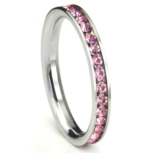 316L Stainless Steel Pink Cubic Zirconia CZ Eternity Wedding 3MM Band Ring Sz 10