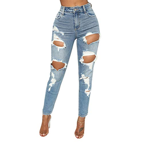 JOFOW Womens Jeans Ripped Distressed Long Skinny Denim Destroyed Pants High Waist Casual Stretch Pencil Crop Trousers Gift (2XL,Blue) -