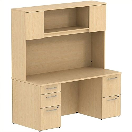- BSH300S044AC - Bush Industries Bush Business 66W x 22D Double Pedestal Desk with 66H Hutch with doors