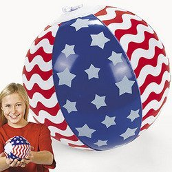 Inflatable Patriotic 5 Inch Stars & Stripes Mini Beach Balls (12 Pack)