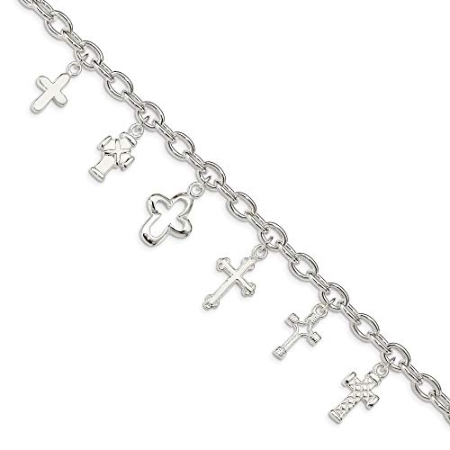 (Sterling Silver Multi-Cross Dangle Bracelet)