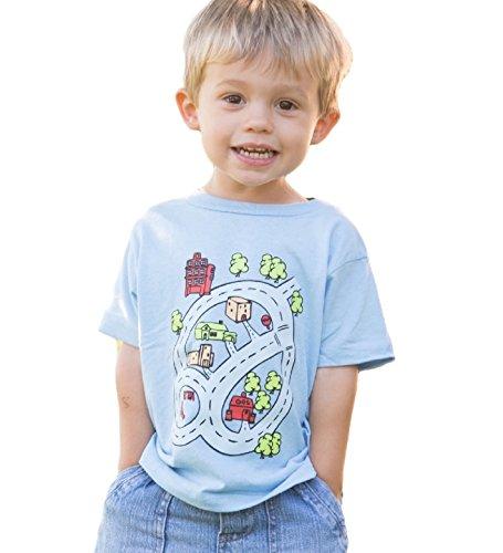 Go Playmat - Kids Cars Race Track Play Mat T-Shirt (Toddler 5/6, Blue)