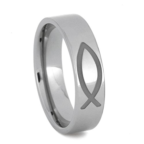 Fish, Infinity, and Trinity Symbols 6mm Comfort-Fit Titanium Band, Size 12.75 by The Men's Jewelry Store (Unisex Jewelry)