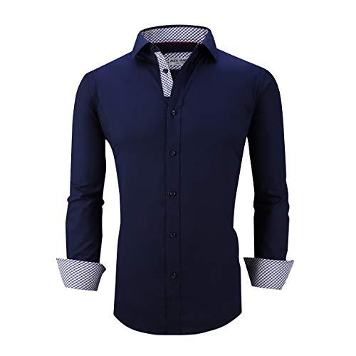 Alex Vando Mens Dress Shirts Regular Fit Long Sleeve Men Shirt,L19-Navy,XL