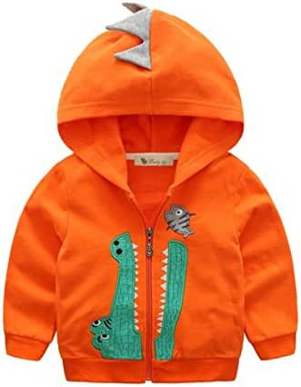 Baby Boys Long Sleeve Dinosaur Hoodies Kids Sweatshirt Toddler Zip-up Jacket
