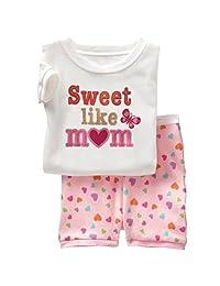 Waboats Girls Pajamas 2-Piece Outfits Tshirts Shorts Sets Sleepwear Nightgown