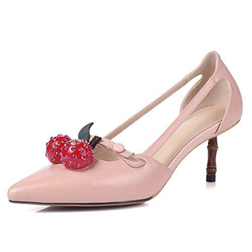 Nine Seven Cuero Moda Puntiagudos Tacones de Aguja de Vestir para Mujer Rosa