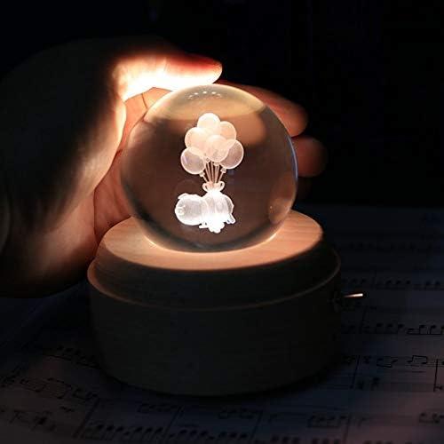 S2F5 ライティングベースの3D彫刻バルーン豚クリスタルボールテーブルランプガラス球装飾ミニチュアオフィスホームデコレーション飾り誕生日ギフト付きナイトライト S2F5 (Size : Sky City)