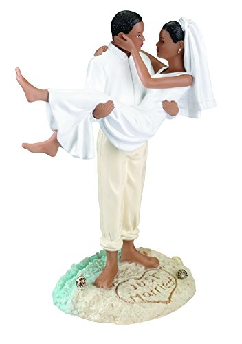 Lillian Rose African American Just Married Beach Wedding Figurine, (Lillian Rose Coastal Mist)