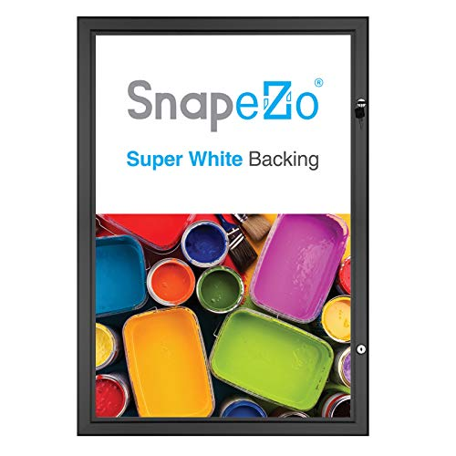 SnapeZo Movie Poster Case 27x40 Inches, Black 1.8 Inch Aluminum Profile, Locking Poster or Menu Case, Lockable Case, Wall Mounting, Professional Series for One Sheet Movie Posters