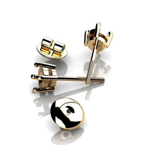 Personnalisez cts-Diamant rond Or jaune 18K Boucles d'oreilles à tige