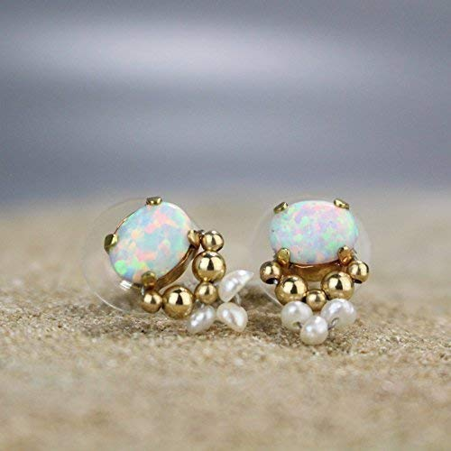 High End Handmade Opal and Pearl Bridal Stud Earrings with Gold Filled Beads, Gemstone Wedding Post Earrings ()