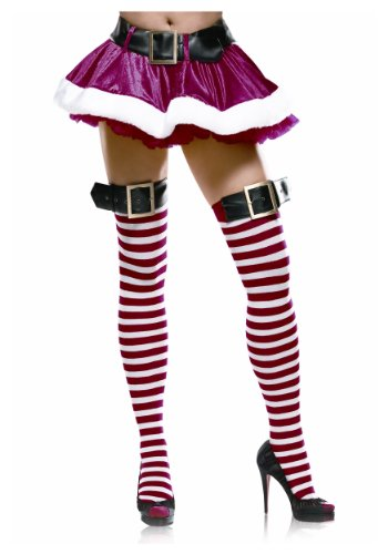 [Leg Avenue Women's Stripe Thigh High Stockings With Buckle Top, White/Red, Medium/Large] (Slutty Christmas Costumes)