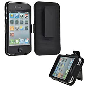 AES - Slide Case with Belt Clip Swivel Holster Stand Cover for iPhone 4/4S