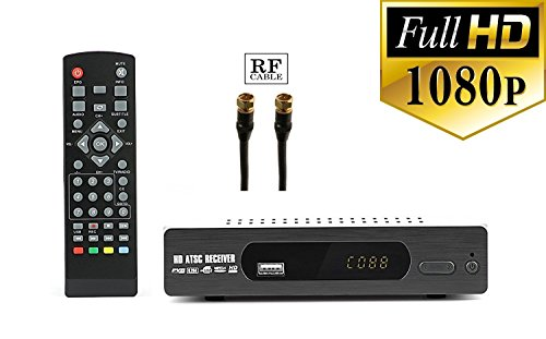 Digital converter box + RF and RCA Cable For Recording and Viewing Full HD Digital Channels for FREE (Instant or Scheduled Recording, 1080P HDTV, HDMI Output, 7 Day Program Guide and LCD Screen) by eXuby
