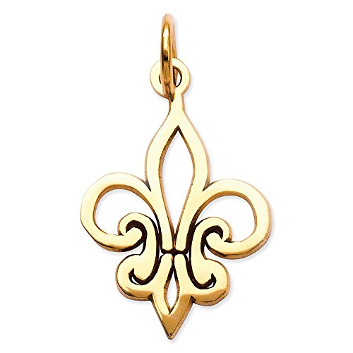 14K Gold Fleur De Lis Charm Pendant (0.87 in x 0.47 in)