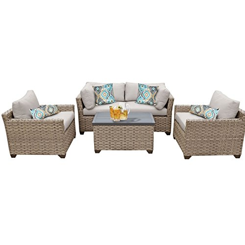 TK Classics Monterey 5 Piece Outdoor Wicker Patio Furniture Set 05b, Beige (Wicker Set)