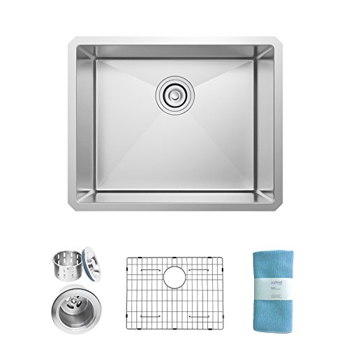 Zuhne 21 Inch Undermount Single Bowl 16 Gauge Stainless Steel Kitchen Sink for 24 Inch - Steel Stainless Designer Sheets