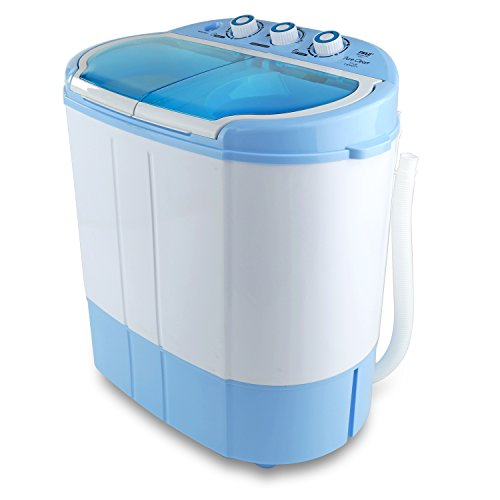 Upgraded Version Pyle Portable Washer & Spin Dryer, Mini Washing Machine, Twin Tubs, Spin Cycle w/ Hose, 11lbs. Capacity, 110V - Ideal For Compact Laundry ()