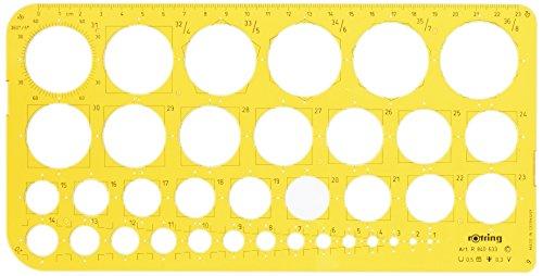 rOtring Kreisschablone 1-36 Gelbtransparent, 1 - 36 mm mit Tuschekante