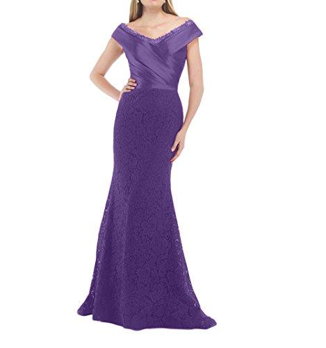 Violett Lang Promkleider Ausschnitt Abschlussballkleider Abiballkleider Brautmutterkleider La V Spitze Brau 2018 mia Etuikleider qxTR7A
