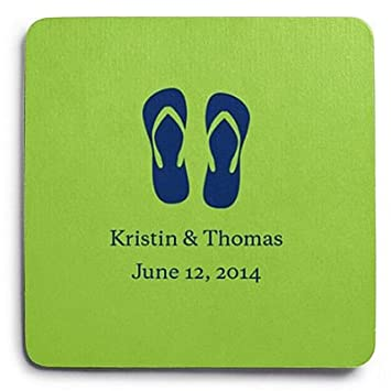 Deluxe Personalized Wedding Coasters Flip Flops