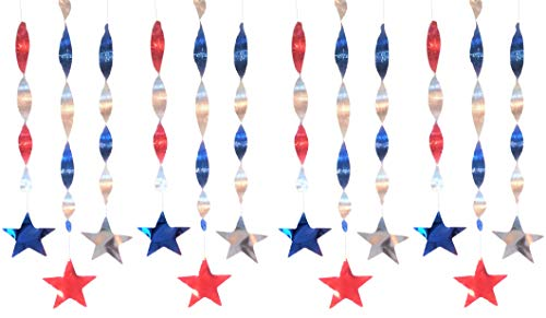 Patriotic Cardboard Foil Hanging Spirals Stars Streamer String Decorations - Hanging 34