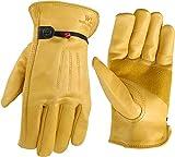 Wells Lamont 1132XL Work Gloves with Grain Palomino Cowhide, Keystone Thumb, Self-Hem, Ball & Tape, Palm Patch, XL