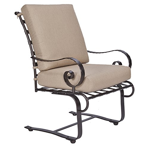 OW Lee Classico-W Club Dining Spring Base Arm Chair in Copper Canyon Finish, Sahara Carbon (Patio Spring Base Club Chair)