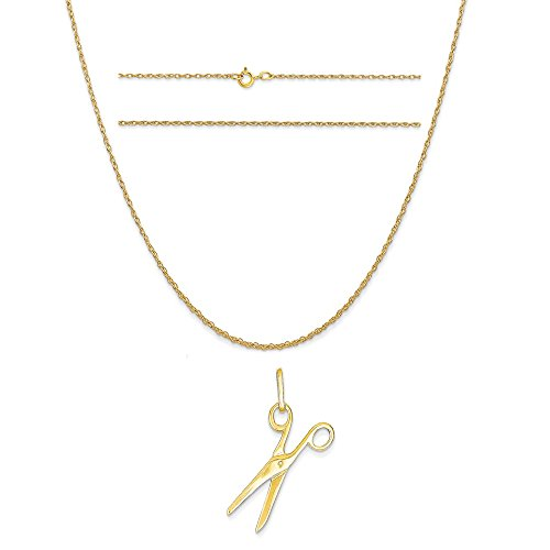 14k Yellow Gold Scissors Charm on a 14K Yellow Gold Carded Rope Chain Necklace, 16