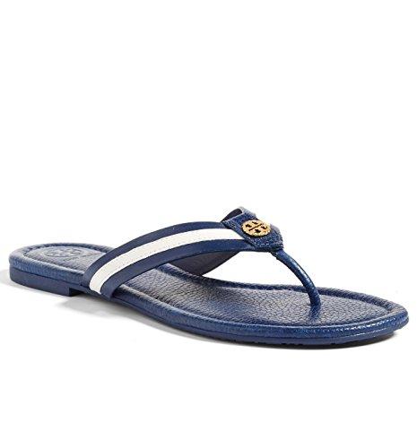Tory Burch Maritime Flat Shoes Flip Flop Sandal Leather (7, Navy Sea - Tory B