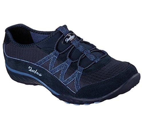 Skechers respirar fácil–activa de la mujer Big Break azul marino zapatillas 7B (M)