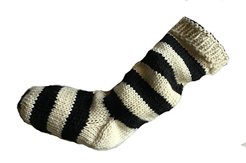 Ewe Knit - Black Christmas Stocking Black and Natural White Striped hand knit 100% wool