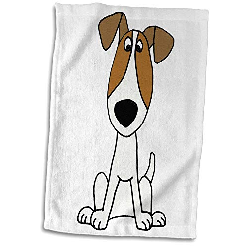 3dRose All Smiles Art - Pets - Cute Funny Unique Jack Russell Terrier Puppy Dog Cartoon - 15x22 Hand Towel (TWL_291126_1)