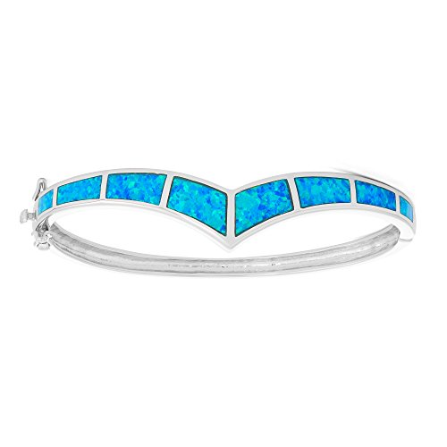 Sterling Silver Created Blue Opal Curved Bar Hinged Cuff Bangle