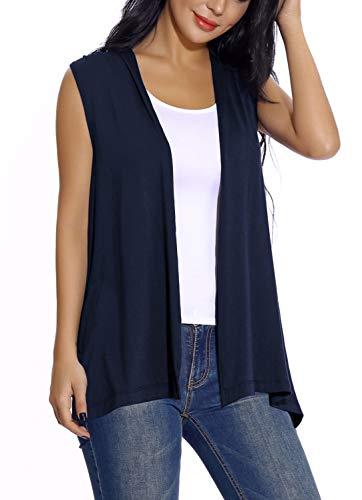 Women's Sleeveless Open Front Cardigan Vest Lightweight Cool Coat (XL, Navy Blue)