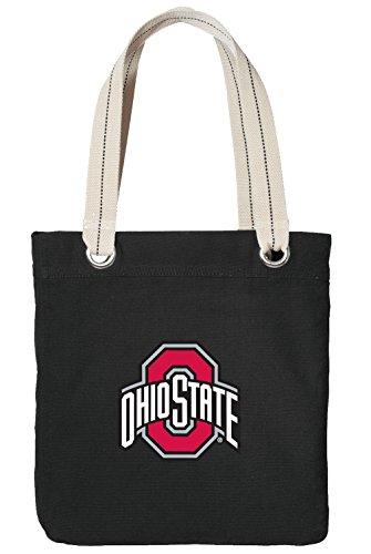 (Ohio State University Tote Bag Rich Cotton Canvas OSU Buckeyes Bags Black)