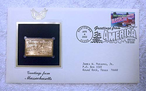 Greetings from Massachusetts - FDC & 22kt Gold Replica Stamp plus Info Card - Greetings from America Series (Postcard Theme) - Postal Commemorative Society, 2002 - Fishing Shack, Rockport, the Berkshire Hills & Mount Greylock