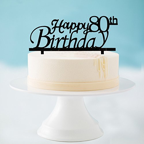 Happy 80th Birthday Cake Topper Black Acrylic Party Decorations